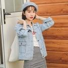 ★2018韓版chic水洗長袖牛仔短外套...