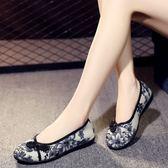 老北京女布鞋平底繡花鞋中老年女花布鞋老太太防滑休閒民族風單鞋