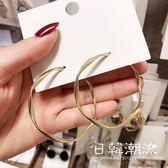 耳環  歐美夸張大氣金屬耳圈女韓國氣質大圈圈s925銀針個性百搭耳環