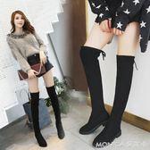 長筒靴女過膝秋季新款韓版百搭學生粗跟繫帶時尚瘦瘦靴潮  美斯特精品