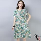 大尺碼洋裝實拍棉麻寬鬆收腰3D印花連身裙短袖A字裙女