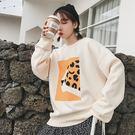 VK精品服飾 韓系復古豹紋時尚印花長袖上衣