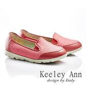 ★零碼出清★ Keeley Ann 小資享樂~輕量素面條紋舒適休閒鞋(玫紅色)