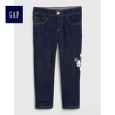 Gap 男嬰幼童 Disney迪士尼系列米奇修身彈力牛仔褲 488950-水洗深靛藍