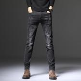 春夏季男士牛仔褲彈力直筒新款修身韓版潮流黑色潮牌休閒長褲子男「艾瑞斯居家生活」
