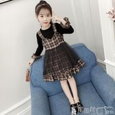 女童吊帶裙洋裝 女童連身裙韓版中大童洋氣秋裝長袖兒童吊帶裙子套裝 寶貝計畫