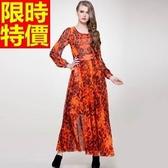 長洋裝-波希米亞風時尚花色圓領大襬雪紡連身裙65af32【巴黎精品】