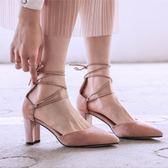 涼鞋 羅馬交叉綁帶真皮尖頭包頭涼鞋女高跟粗跟百搭晚晚鞋