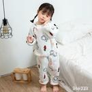 寶寶睡衣秋冬季法蘭絨分體家居服套裝加絨加...