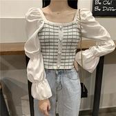 法式氣質方領泡泡袖上衣穿搭打底衫女秋冬設計感短款t恤長袖秋裝寶貝計畫