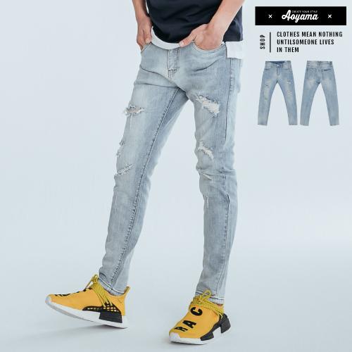 牛仔褲 仿舊反白刷色多重破壞彈力牛仔褲【EG8321】休閒褲