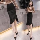 包臀裙中長款開叉不規則黑色彈力修身顯瘦2021春裝新性感半身裙子 快速出貨