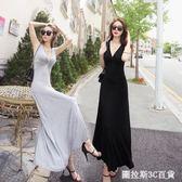 韓版夏季莫代爾修身大擺裙長裙女性感V領小黑裙背心連身裙拖地裙  圖拉斯3C百貨