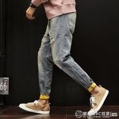 破洞褲男 春夏牛仔褲男生破洞淺色寬鬆直筒褲哈倫嘻哈乞丐小腳束腳牛仔褲潮 圖拉斯3C百貨