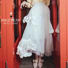 紗裙 Space Picnic 不規則蕾絲雪紡紗長裙(預購)【C19033079】