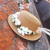 [協貿國際]沙灘花朵草帽防曬沙灘帽遮陽帽平頂小禮帽1入