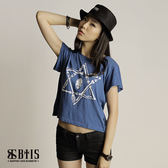 【BTIS】六芒星骷顱圖 短版T-shirt  / 丈青色