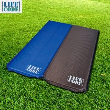 LIFECODE《雙面可用可拼接》自動充氣睡墊-厚5cm(2入組)寶藍配咖啡色