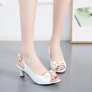 魚口鞋 韓版時尚百搭蝴蝶結細跟高跟鞋女式外穿中跟后空魚嘴涼鞋大碼女鞋