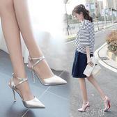 夏季包頭淺口單跟鞋銀色高跟鞋一字扣帶時尚百搭女涼鞋  喵小姐