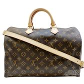 【Louis Vuitton 路易威登】M41111 經典Monogram SPEEDY35 手提/斜背波士頓包