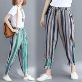 胖mm雙色拼接棉麻豎條紋文藝復古百搭貼布寬鬆減齡舒適女生哈倫褲