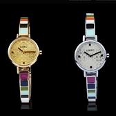 石英錶-簡約彩虹陶瓷潮流手鍊造型女手錶2色71r8[時尚巴黎]