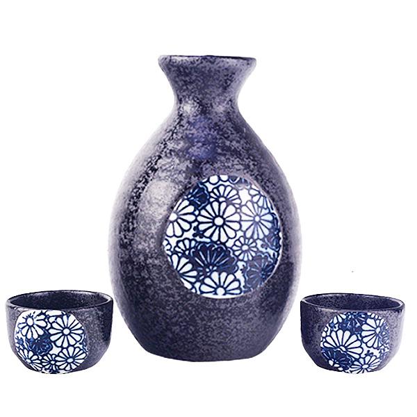 [堯峰陶瓷]日本進口瓷器 美濃燒秋菊盛開 清酒壺(一壺兩杯組/附盒)|酒杯套組|現貨在台|
