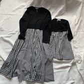 拼接格紋口袋連身裙 (大人賣場) 長袖洋裝 親子裝 母女裝 長袖 連身裙 女童 橘魔法 現貨 兒童 童裝