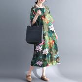 洋裝 中大尺碼文藝棉麻女裝夏裝中袖民族風寬松棉麻荷花中長款連身裙FNA028-C快時尚