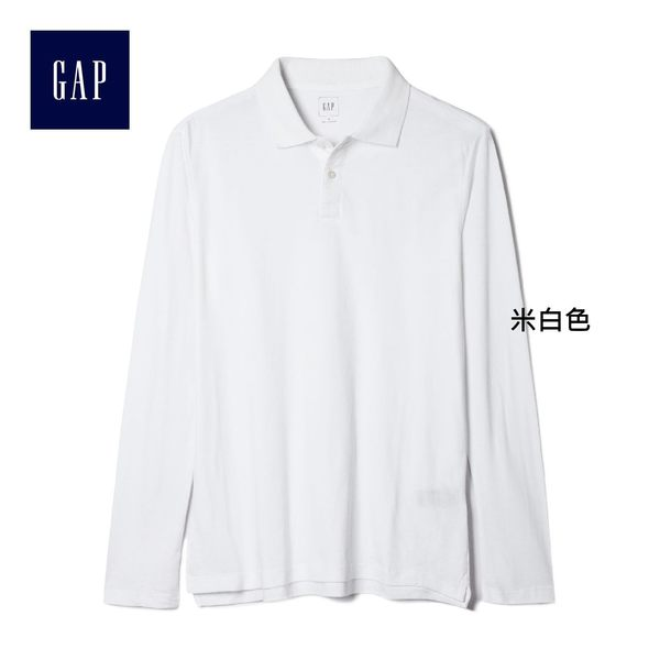 Gap男裝 舒適時尚純色長袖Polo衫 164263-米白色