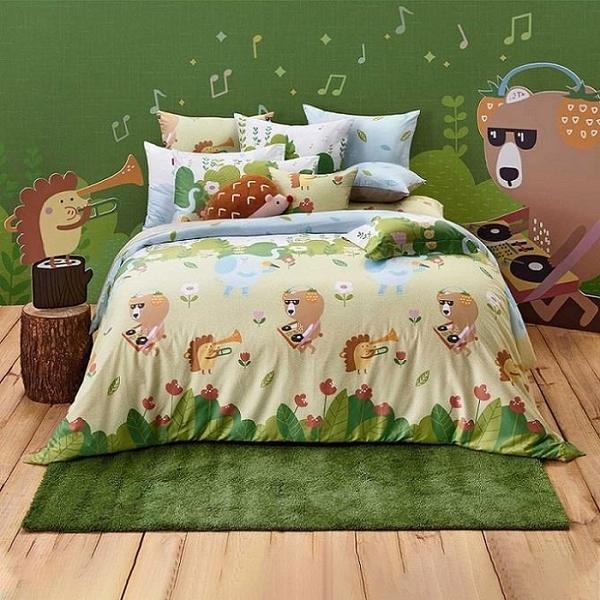 【南紡購物中心】Tonia Nicole東妮寢飾 動物好森音環保印染100%精梳棉兩用被床包組 (雙人)