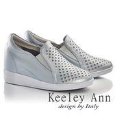 ★2017春夏★Keeley Ann時尚潮流~鏤空排列圓點水鑽全真皮內增高休閒鞋(藍色)