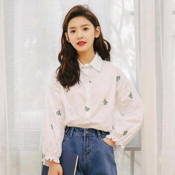 雪紡襯衫女白色長袖寬鬆夏裝新款韓范百搭職業裝襯衫仙人掌印 居享優品