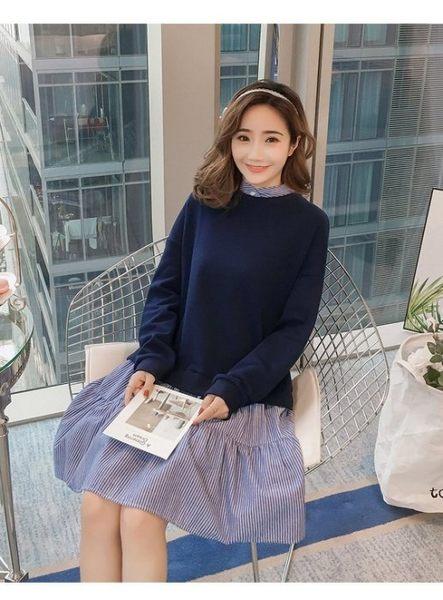 漂亮小媽咪 假二件式洋裝 【D8311】韓系 質感系 孕婦洋裝 孕婦裝 長袖 洋裝