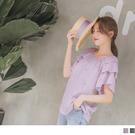 《AB9663-》格紋向日葵刺繡荷葉寬袖...