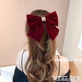 頭飾紅色絲絨大蝴蝶結發夾后腦勺新年頭飾韓國網紅2021年新款發卡發飾  迷你屋 新品