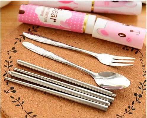 三合一環保餐具 不鏽鋼製 環保筷湯匙叉子 隨身餐具組 方便攜帶(款式隨機出貨)