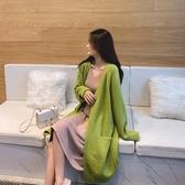 毛衣外套女 寬鬆慵懶 春秋季韓版中長款針織開衫外搭