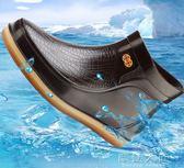 男士雨鞋短筒水鞋低筒廚房防滑防水耐磨工作膠鞋洗車釣魚雨靴「摩登大道」