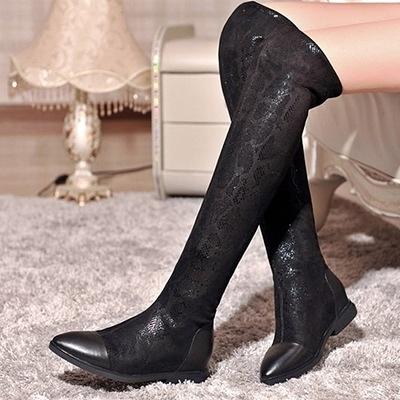 長靴-時尚俏麗舒適平跟內增高彈力真皮女過膝靴71ab32【巴黎精品】