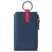 MONDAINE 瑞士國鐵Urban牛皮4卡鑰匙零錢包-十字紋藍