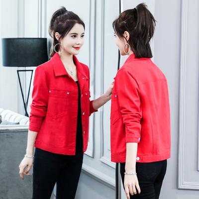 機車牛仔外套~紅色牛仔外套女學生韓版寬松上衣潮夾克 K8298MC046莎菲娜