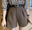 短褲 貼心舒適短褲女春秋新款高腰顯瘦休閒寬鬆a字闊腿夏季西裝褲