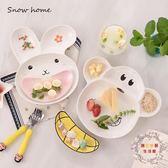 一件85折免運--陶瓷兒童餐盤子兔子猴子創意早餐盤可愛卡通分格餐盤餐具
