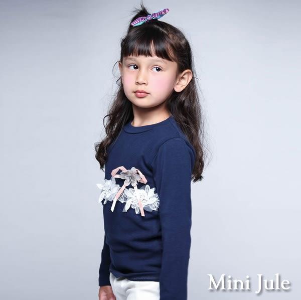 Mini Jule女童 上衣 蕾絲花朵珠珠蝴蝶結/蕾絲領皇冠珠珠網紗後單釦長袖上衣(共2款) Azio Kids
