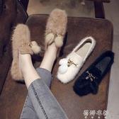毛鞋毛毛鞋女韓版百搭休閒淺口平底棉鞋加絨保暖豆豆鞋 歐韓流行館