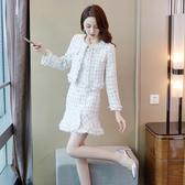 超殺29折 韓系粗花開衫小外套呢魚尾裙毛邊套裝長袖裙裝
