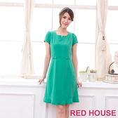 【RED HOUSE-蕾赫斯】小V領蝴蝶結洋裝(綠色)