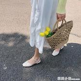 網紅包頭涼鞋女新款夏方頭學生一字扣百搭仙女風粗跟晚晚單鞋 蘇菲小店
